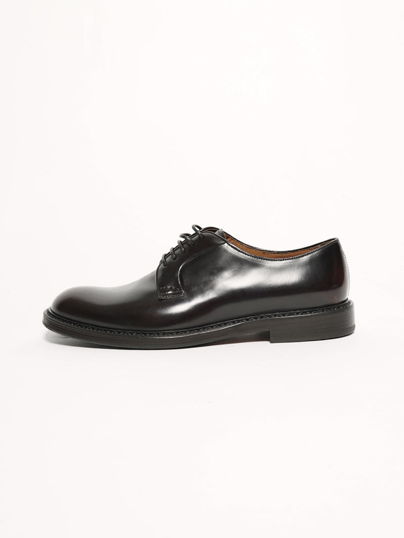 Duca di Wells-Derby in cuoio liscio Testa moro/ Bordeaux-TRYME Shop