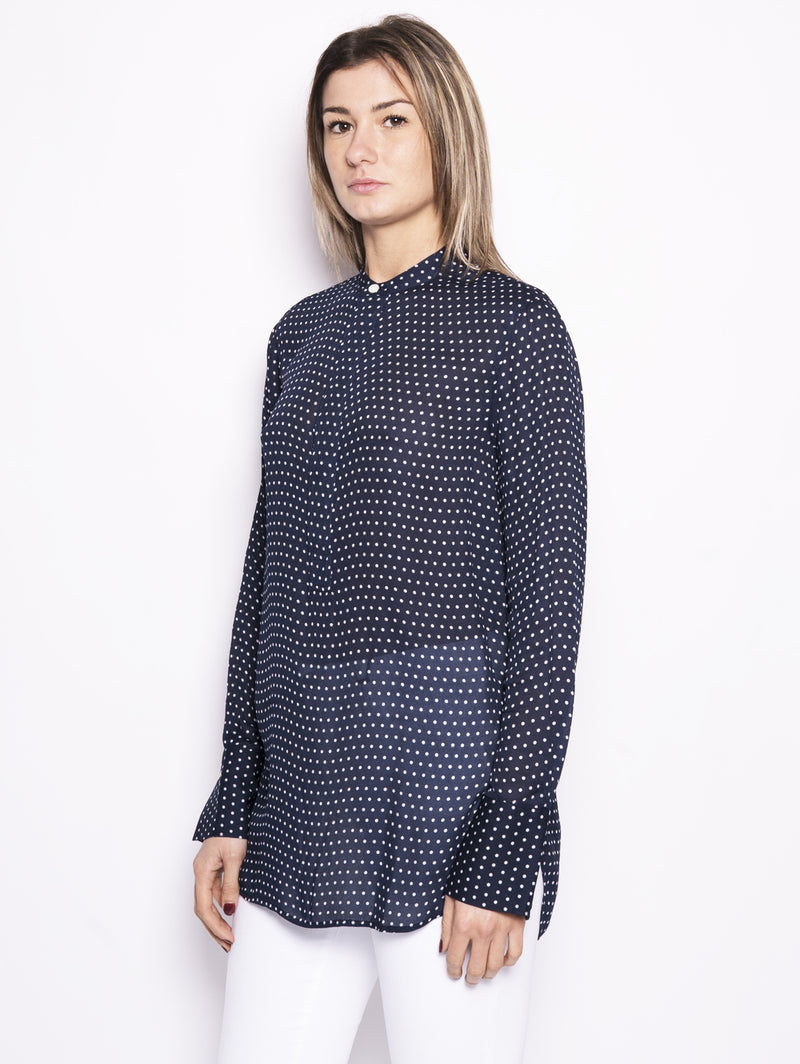 Blusa a pois in viscosa Blu / Bianco-Camicie-RALPH LAUREN-TRYME Shop