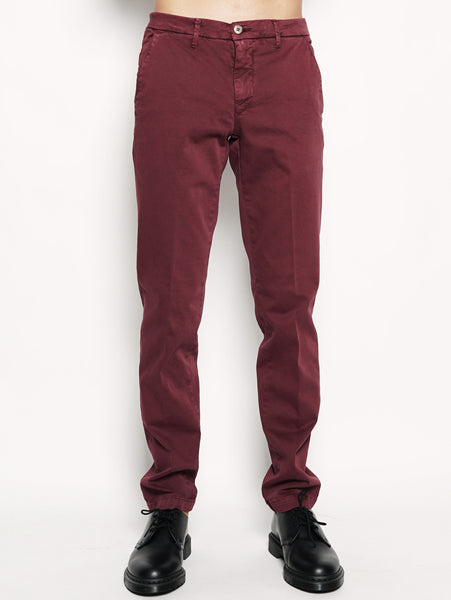 Pantalone chino stretch Bordeaux