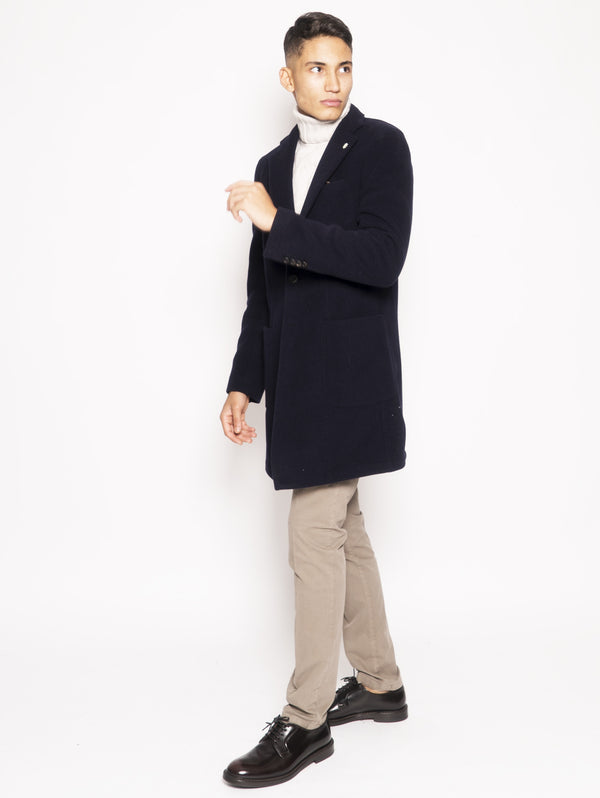 Blue unlined wool blend coat