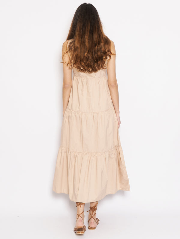 Long dress in Beige Popeline