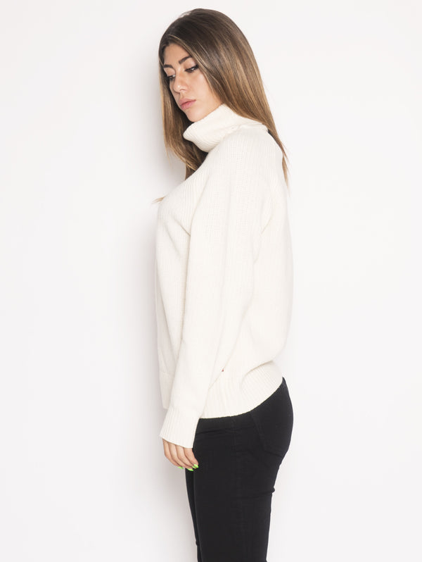 W'S TURTLE NECK Maglione dolcevita RELAXED-FIT Bianco