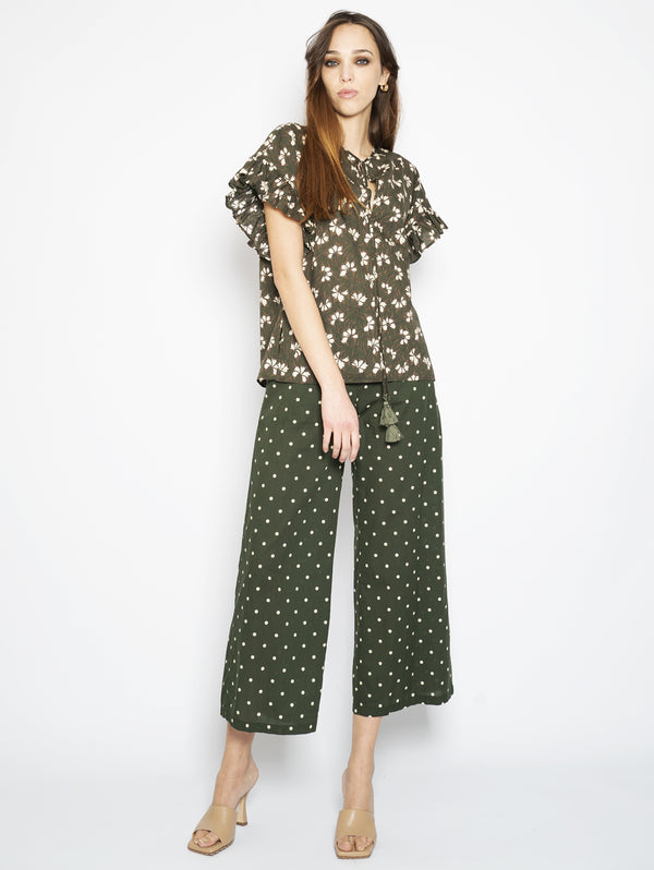 Green Floral Print Bloous