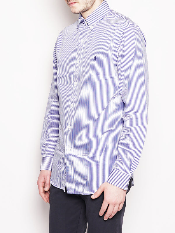 Camicia popeline a righe Slim-Fit Bianco / Blu-Camicie-RALPH LAUREN-TRYME Shop