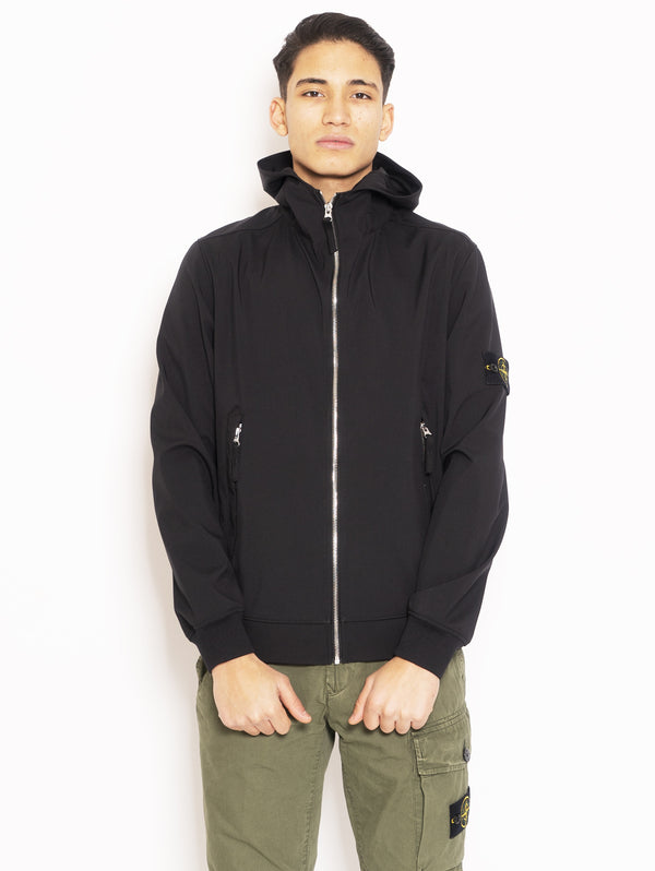 STONE ISLAND-Giubbino con cappuccio in Light Soft Shell-R Nero-TRYME Shop