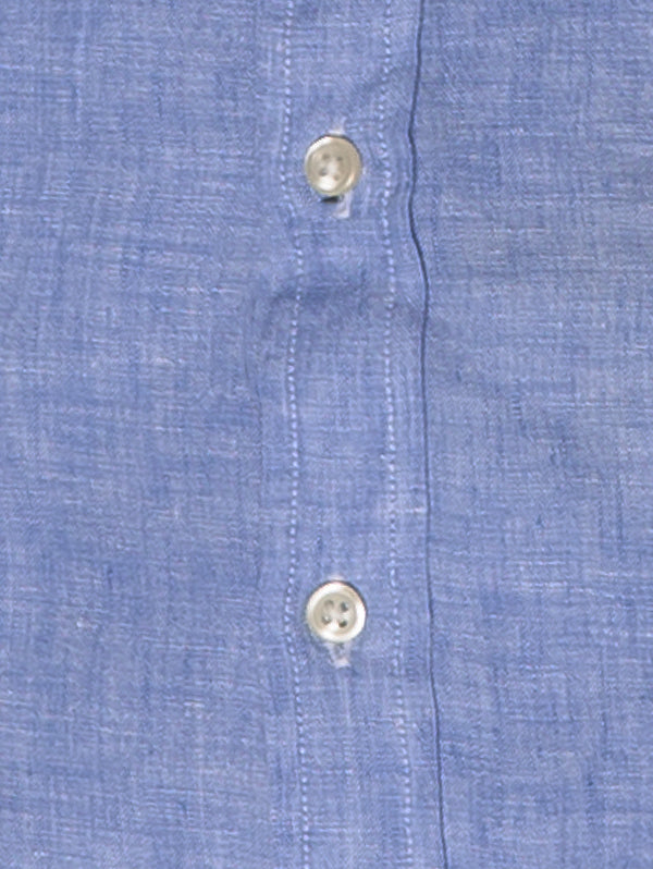 Camicia in Lino Slim Fit Blu