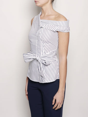 Pinko Top a righe in popeline Blu / Bianco Trymeshop.it