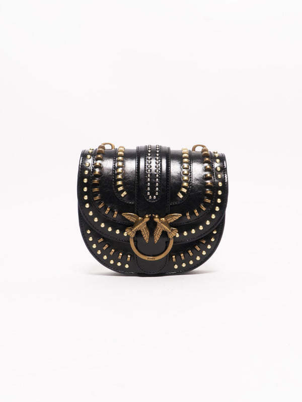 ROUND LOVE BAG MIX STUDS IN PELLE Nero