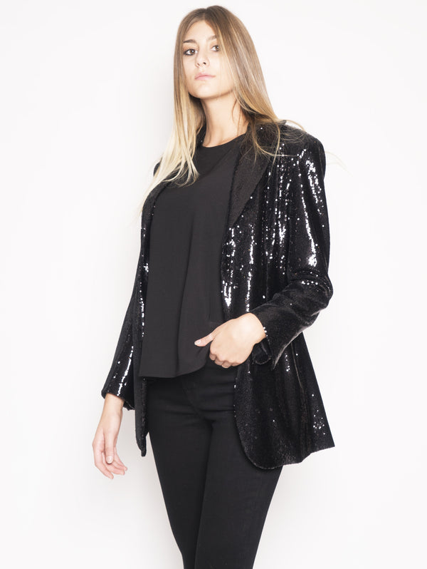 D420075 PILLE - Blazer in paillettes Nero