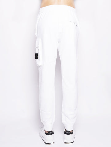 STONE ISLAND 65760 TINTO 'OLD' - Pantalone cargo in felpa Bianco Trymeshop.it