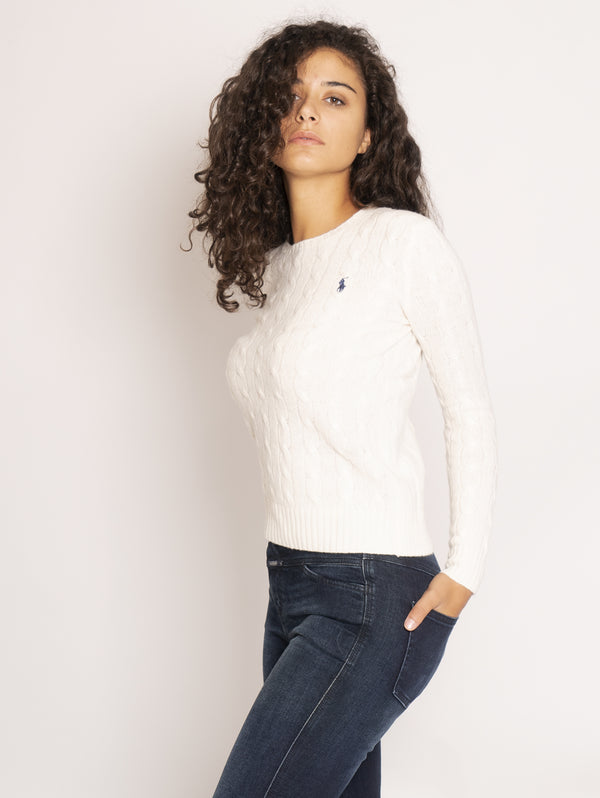 Cable Crewneck Sweater - Cream