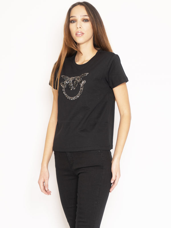 T-shirt con maxi Logo in strass Nero