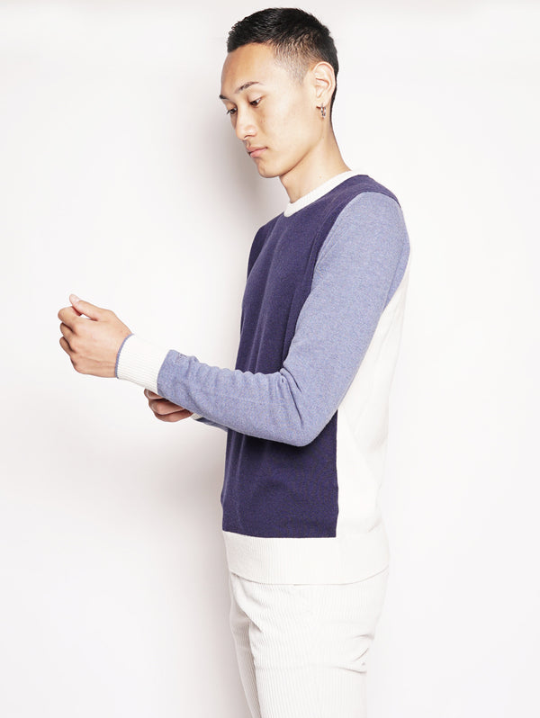 Color Block Sweater Blu / Bianco / Polvere-Maglieria-WOOLRICH-TRYME Shop