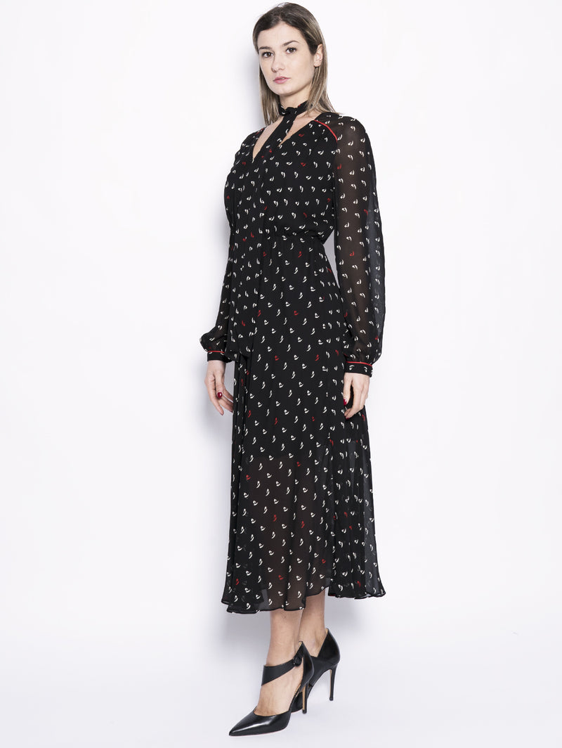 Abito in georgette stampa a pois - Illustre Nero-Abiti-Pinko-TRYME Shop