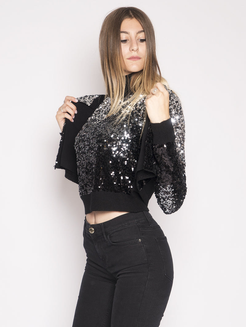 Cardigan Full Paillettes Albanese Nero