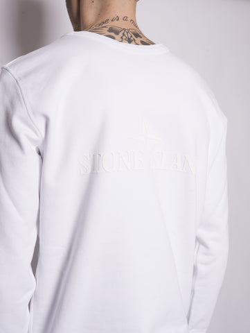 STONE ISLAND 60151 - Felpa con logo in rilievo Bianco Trymeshop.it