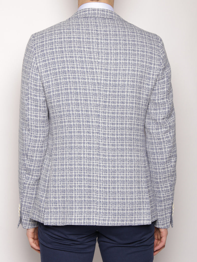 Giacca in stuoia micro check 2232G2069 173142 Bianco/Celeste-Giacche-MANUEL RITZ-TRYME Shop
