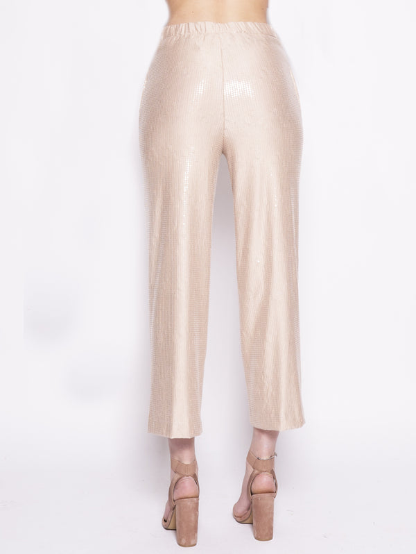 Blush sequin trousers