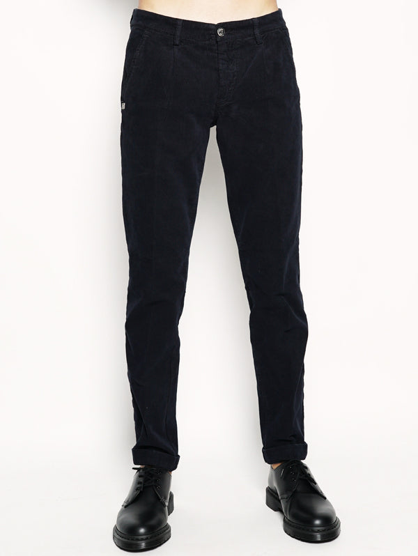 40WEFT-Alan - Pantalone chinos in velluto Blu-TRYME Shop