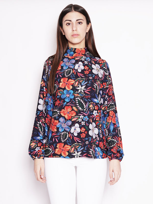Blusa floreale girocollo Blu / Multicolor-Top-ESSENTIEL-TRYME Shop