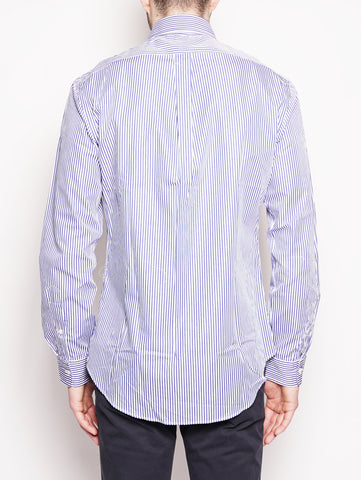 RALPH LAUREN Camicia popeline a righe Slim-Fit Bianco / Blu Trymeshop.it