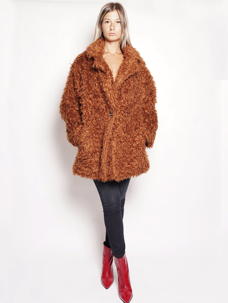 Zelindo Caban - Cappotto in Faux Fur Rame