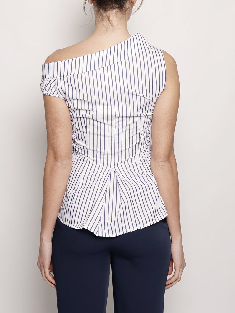 Top a righe in popeline Blu / Bianco-Top-Pinko-TRYME Shop