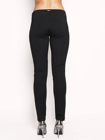 Leggings in ecopelle e jersey  Nero