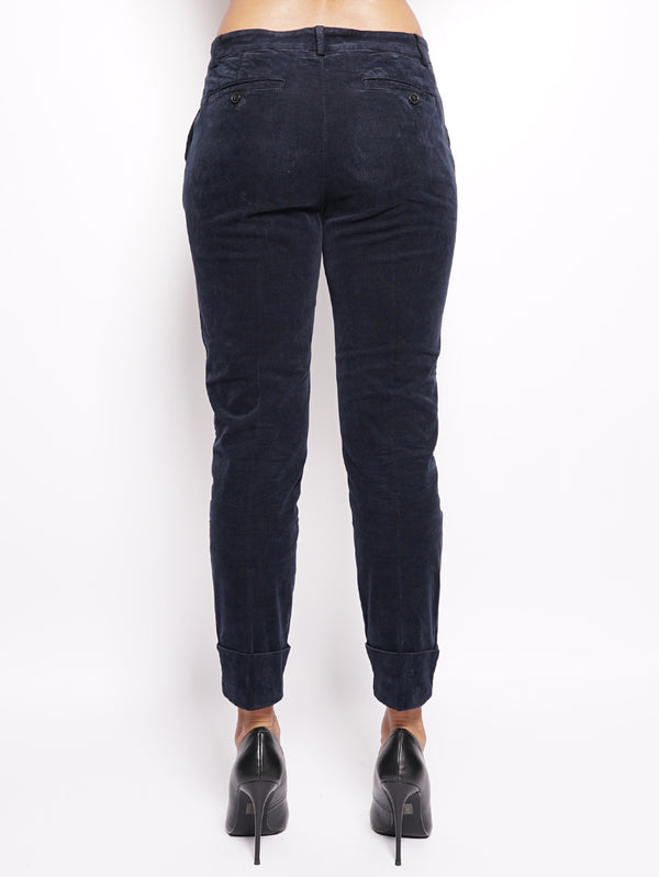Stewart - Pantalone in velluto Blu-Pantaloni-CLOSED-TRYME Shop