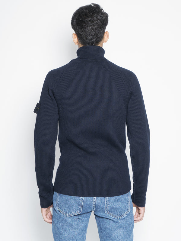 Ribbed high neck sweater 542C2 Blue