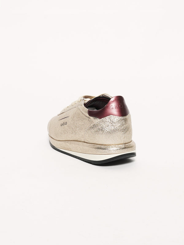 SNEAKERS IN PELLE 45MM Oro metallic/Bordeaux-Scarpe-GHOUD-TRYME Shop