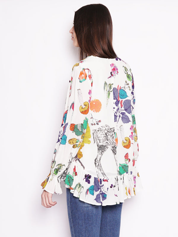 Blusa in fantasia con volant Bianco-Top-ESSENTIEL-TRYME Shop