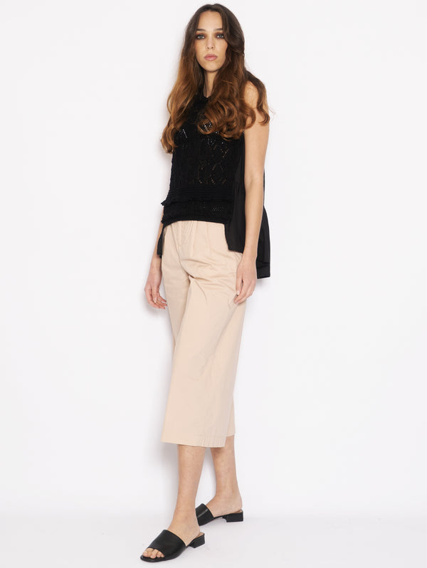 Wide trousers in Beige Popeline