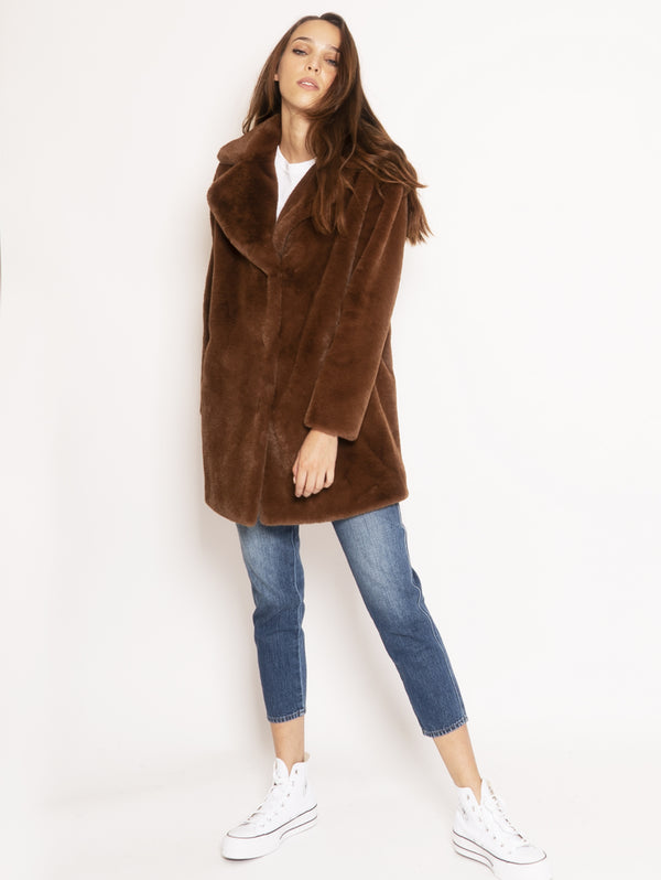 P.A.R.O.S.H.-Cappotto in Ecofur - Marrone-TRYME Shop
