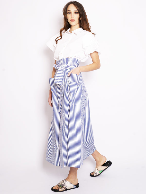 Long Blue Striped Skirt