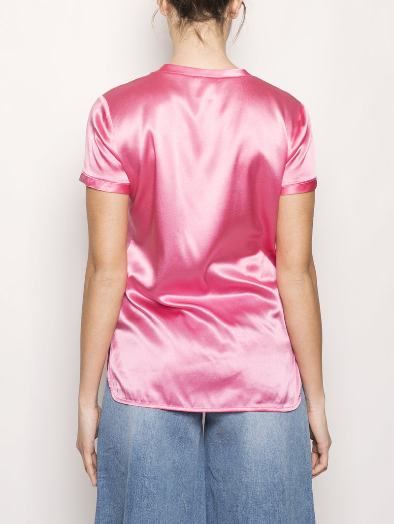 BLUSA DI SATIN STRETCH Rosa-Blusa-Pinko-TRYME Shop