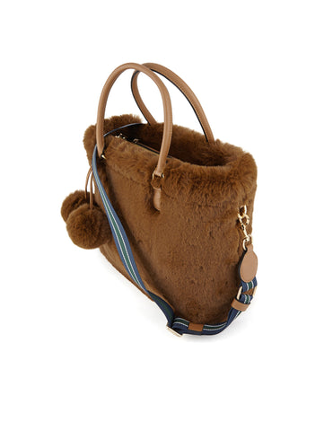 ESSENTIEL Borsa in ecopelliccia con tracolla - Reponpon Medium Shopper Cammello Trymeshop.it