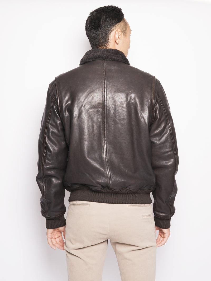 G1 Vegetal Leather - Giubbino in pelle con collo in pelliccia Testa di Moro-Jacket-ROY ROGERS-TRYME Shop