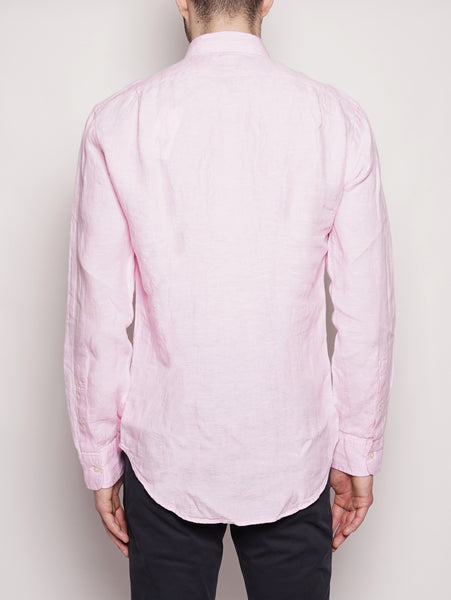 Camicia in lino Slim Fit Rosa