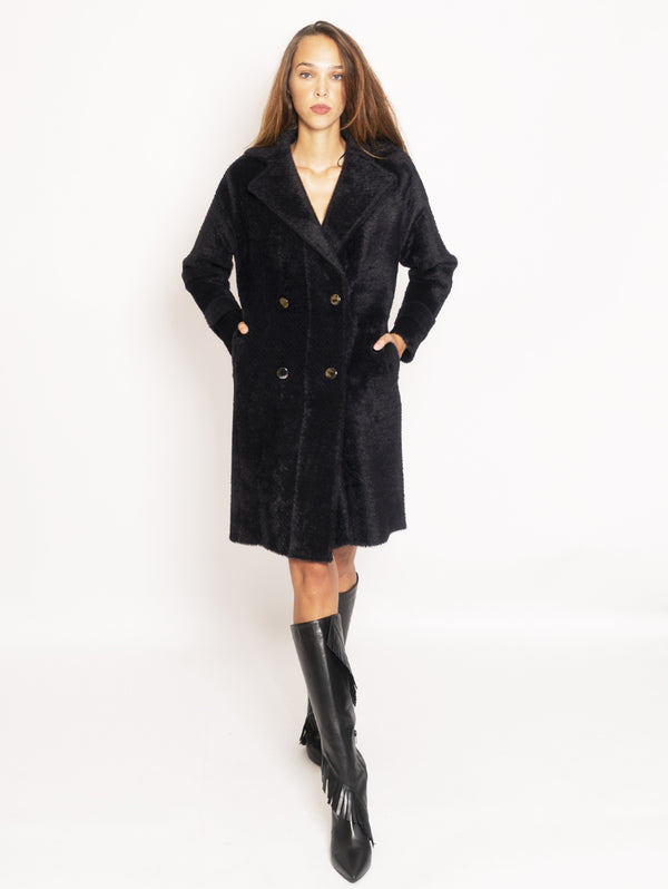 PINKO-Cappotto in Faux Fur Doppiopetto - Nero-TRYME Shop