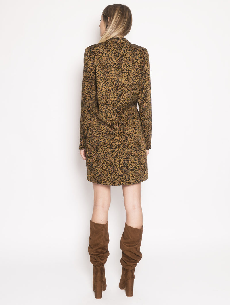 Robe Manteau con Stampa Animalier Marrone