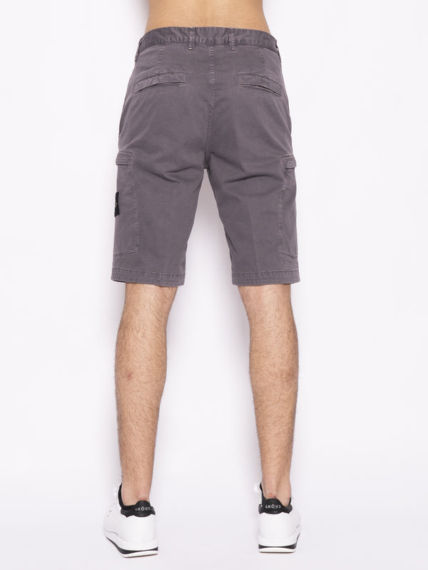 L0504 TINTO 'OLD' - Bermuda cargo in twill stretch Grigio
