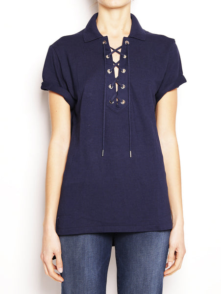 Ralph Lauren Polo Boyfriend in piquè con lacci V38XZP99VP190 Blu navy Trymeshop.it