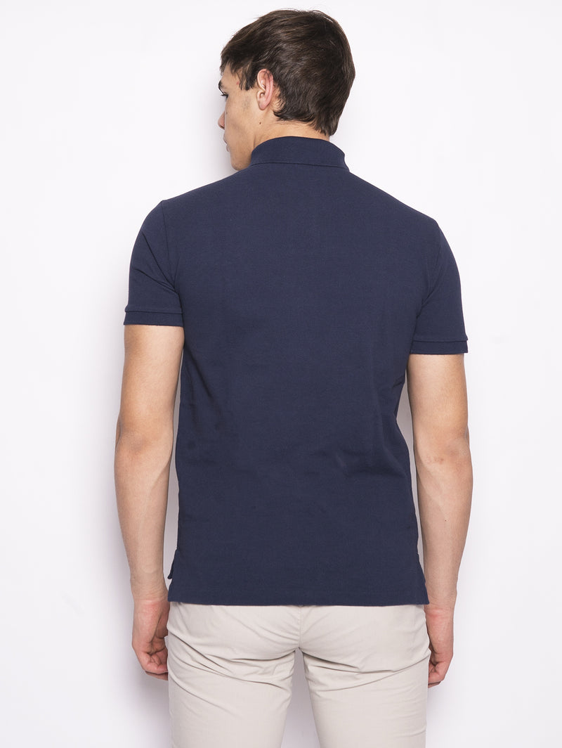 Polo in piqué di cotone Slim Fit Blu-Polo-RALPH LAUREN-TRYME Shop