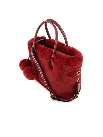 ESSENTIEL Borsa in ecopelliccia con tracolla - Reponpon Medium Shopper Burgundy Trymeshop.it