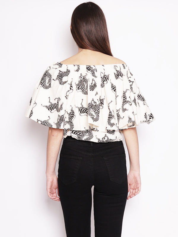 Top con coulisse e balza Bianco / Nero-Top-ESSENTIEL-TRYME Shop