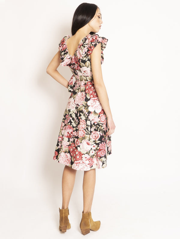 Floral Dress with Multicolor Rouches