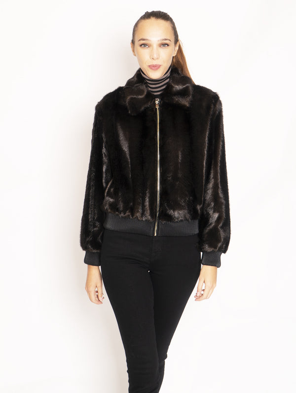 Bomber in Eco Pelliccia - Marrone