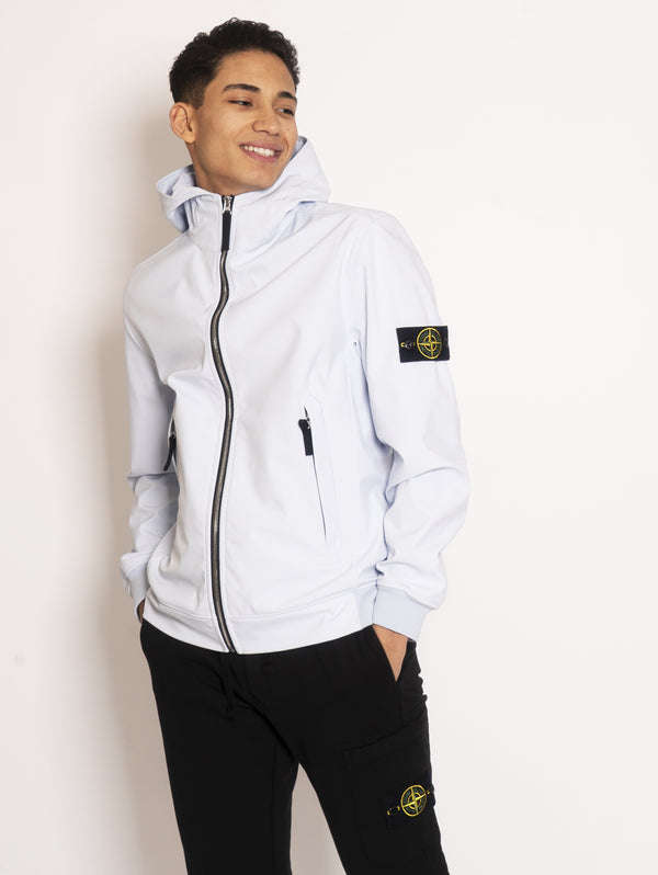 STONE ISLAND-Giubbino con cappuccio in Light Soft Shell-R Cielo-TRYME Shop
