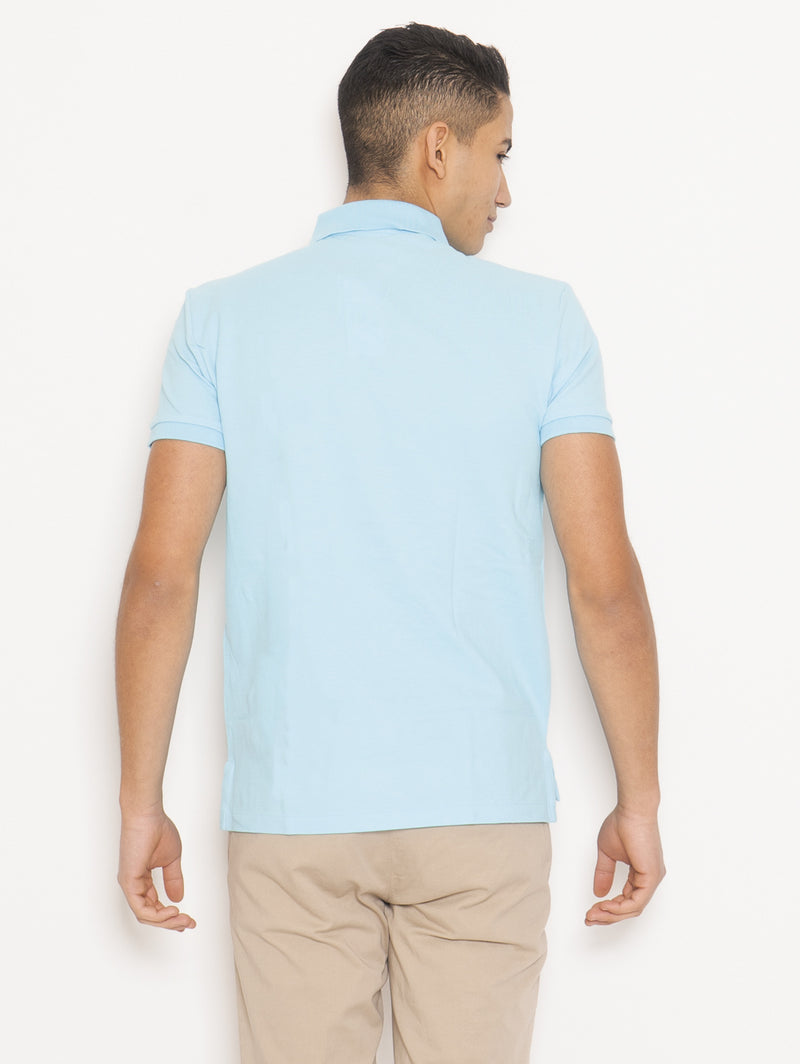 Polo in Piqué di Cotone Slim FIt Blu